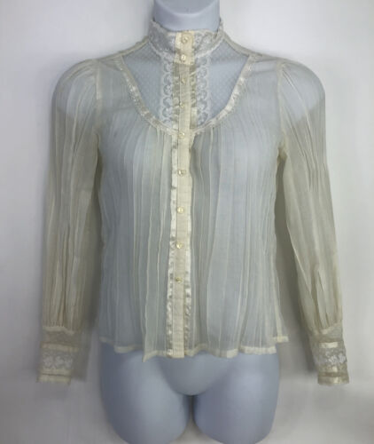 Jessica's Gunnies Womens Lace Satin Blouse Vintage