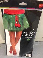LADIES, WOMENS GREEN SEQUIN CHRISTMAS ELF STYLE TUTU FANCY DRESS ACCESSORY