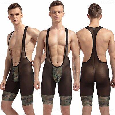 Men's Sexy Bodysuit Camouflage Green Wrestling Leotard Mesh Black Body Shaping
