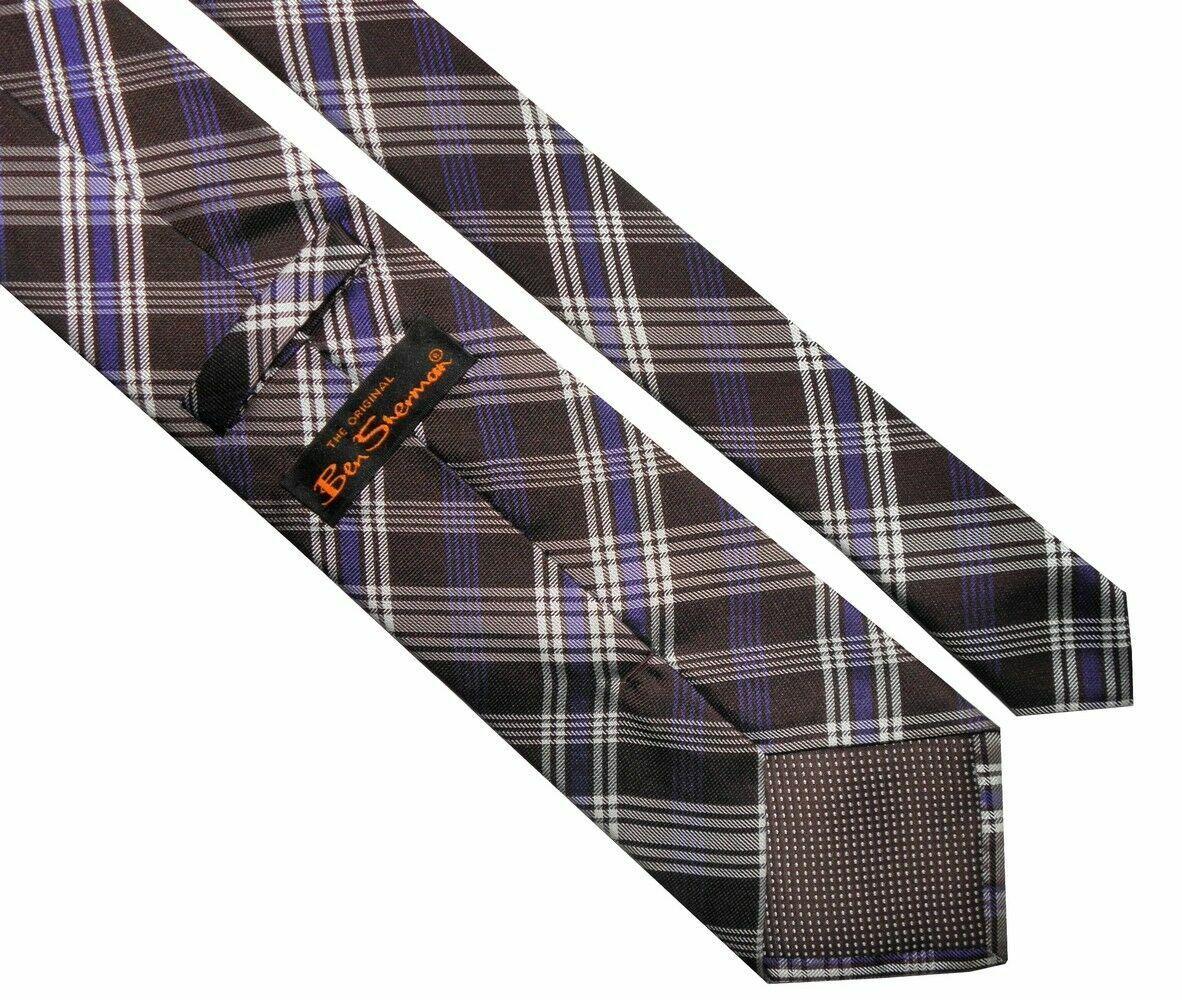 BEN SHERMAN Classic Mens Brown White Striped Silk Necktie Tie > RRP