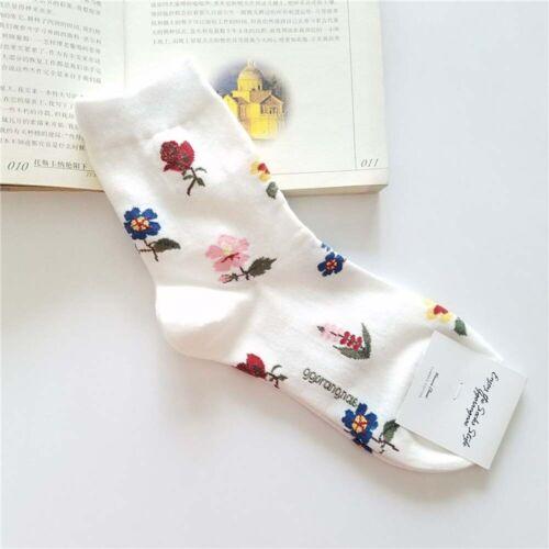 Korean Retro Rose Autumn Warm Women Cute Socks Winter Cotton Casual Socks h