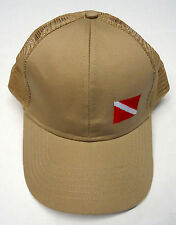 Embroidered Dive Flag Scuba Diving Ball Cap Hat Mesh One size