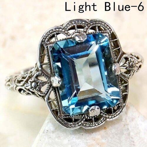 2CT Saphir Bleu 925 Argent Sterling Massif Art Déco Filigrane Bague Best Cadeaux