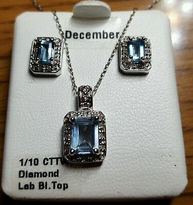 """Sterling Silver Blue Topaz Diamond Birthstone 16"""" Necklace & Stud Earrings"""
