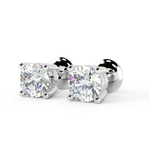 White Gold 0.25ct Round Diamond Claw Set Screw Back Stud Earring