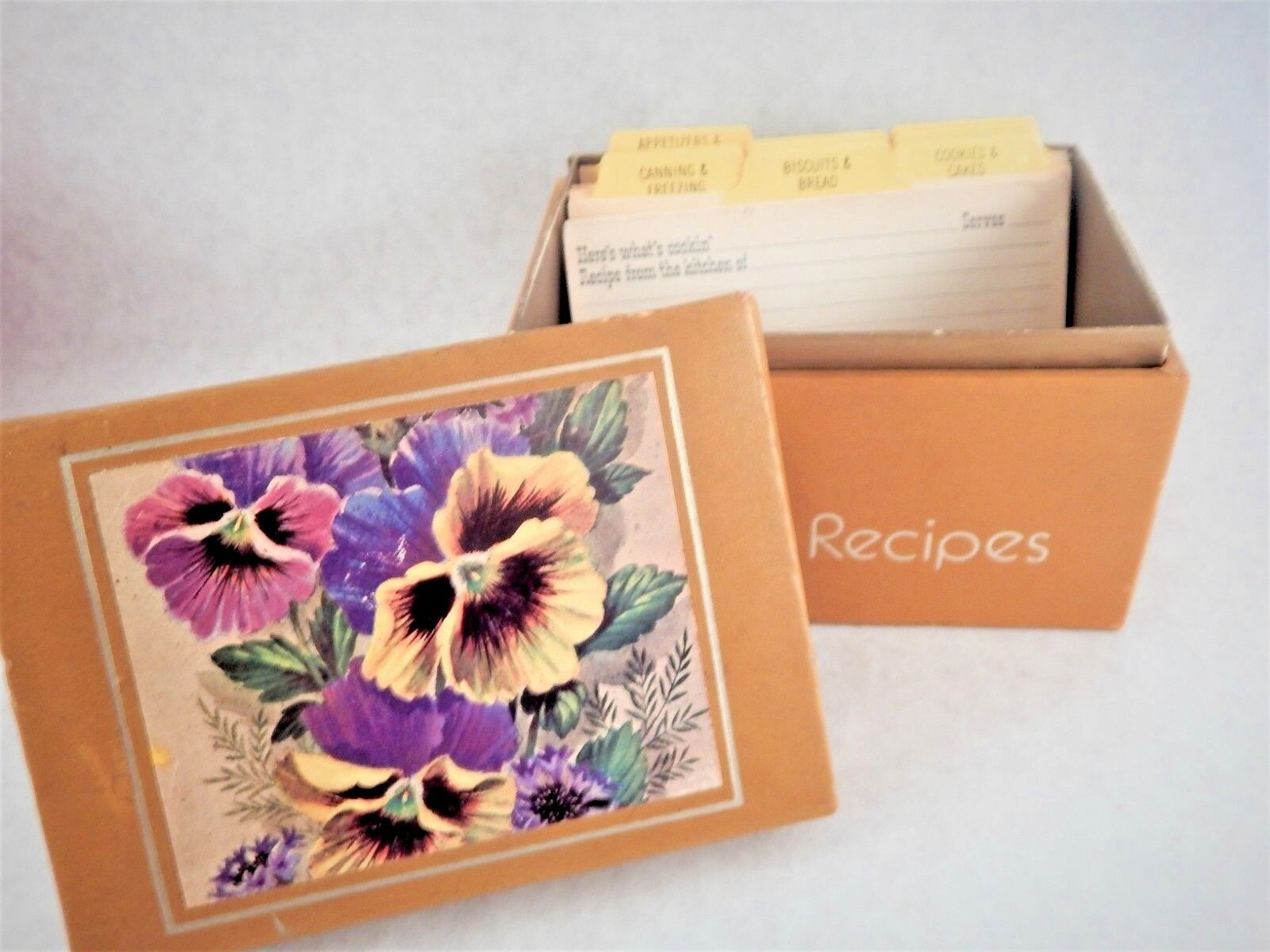 Recipe Card Box Flowers Floral Pansy Pansies Vintage Mid Century Kitchen Decor