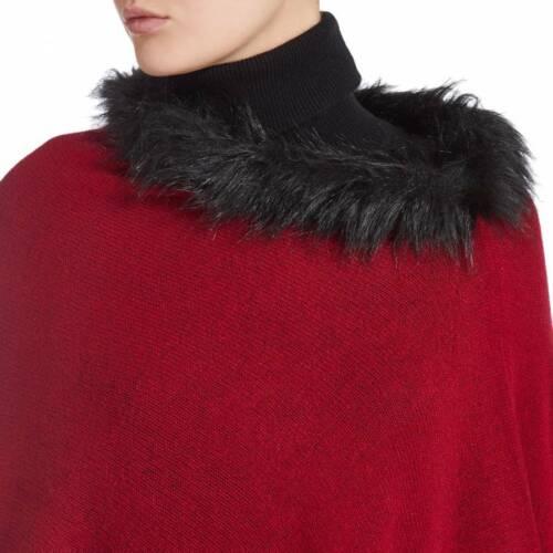 Scott /& Scott 100/% Cashmere Triangle Red Poncho Fur Trim One Size RRP £225 NEW
