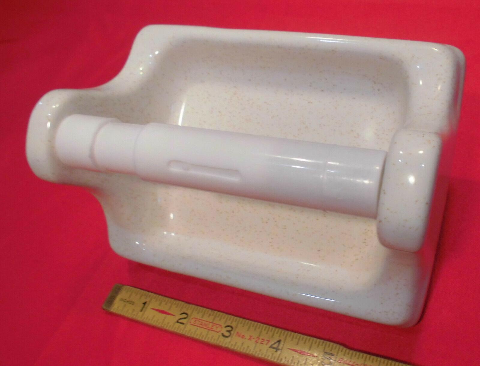 Gloss White + Gold Specks; Quality Ceramic Toilet Paper Holder; Japan, Speckled