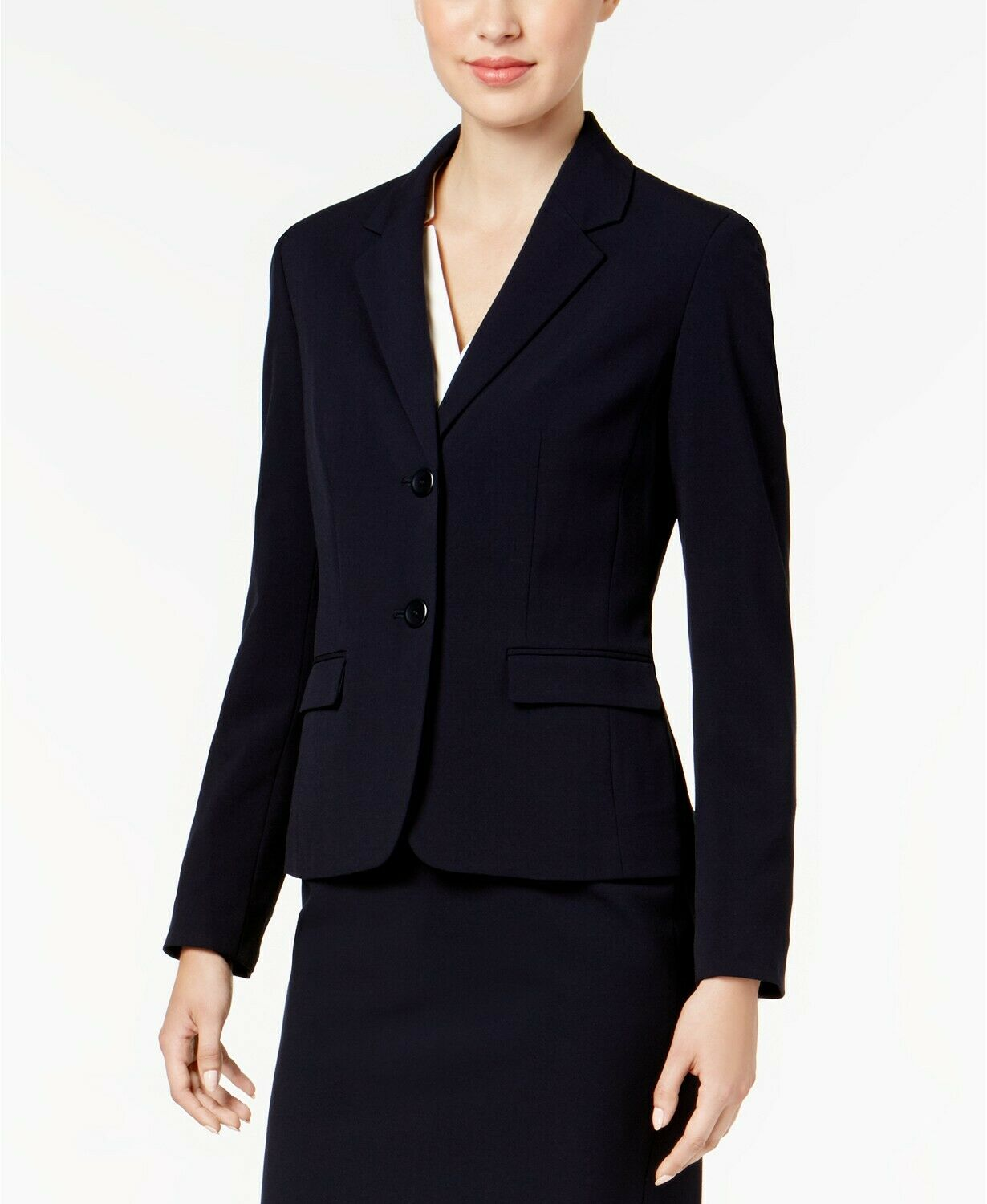 NINE WEST WOMEN'S blueE BUTTON FRONT NOTCHED COLLAR CAREER BLAZER SIZE 12