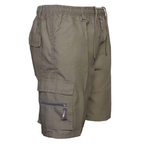 New Mens Plain Summer Elasticated Shorts 7 Pockets Zip Fly Cargo Combat Pants