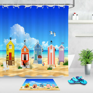 Tropical Beach Happy Holiday Fabric Shower Curtain Set Bathroom Decor w// Hooks