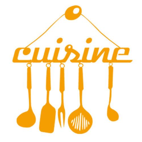 Sticker Décoration Texte Cuisine et ses Ustensiles 20x19 cm à 30x28 cm