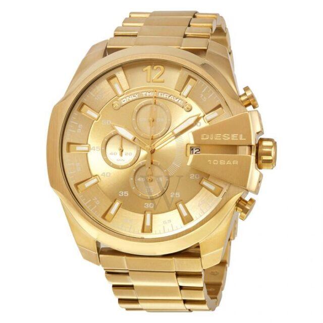 New Diesel Mega Chief DZ4360 Chronograph Gold Tone Dial Case Gents Men's Watch