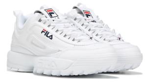 FILA WOMEN/'S Disruptor Premium 2 Running Sneaker Bianco Blu Scuro Rosso Nuovo con Scatola