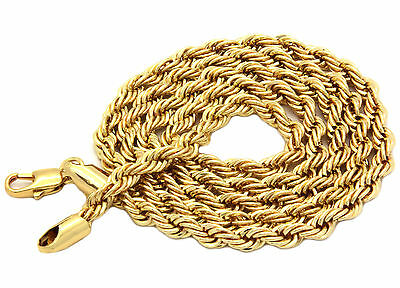 "Mens Light Kc Gold Plated 4mm Rope Chain Necklace 24"" Hip Hop Chain Necklaces"