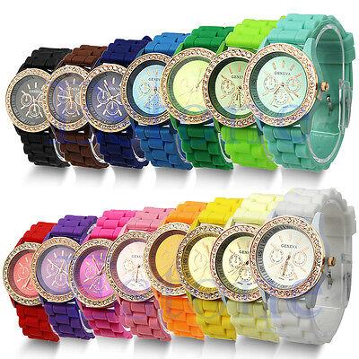 Ladies Women Girl Silicone Quartz Golden Crystal Stone Jelly Wrist Watch