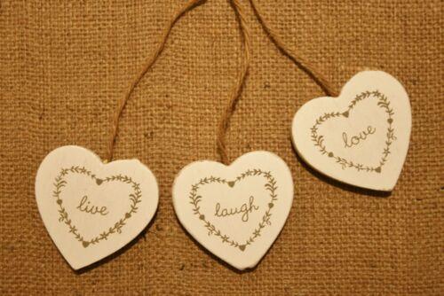Vintage chic pendaison cœur signe plaque LIVE LOVE SHABBY rire bois vieilli