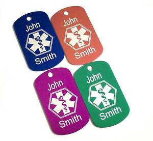 MEDICAL-ALERT-ENGRAVED-MEDIC-ID-MILITARY-DOG-tag-tags