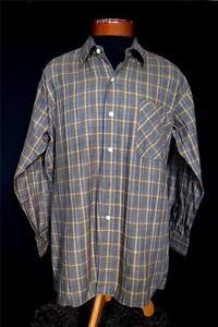 SIZE-XL-VINTAGE-1960-039-S-FRENCH-BROWN-PLAID-COTTON-GRANDFATHER-SHIRT