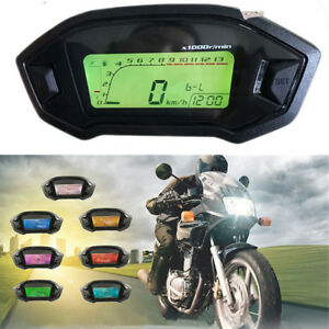 0~14000r/min Waterproof Motorrad LCD Tacho Kilometerzähler Tachometer KMH Gauge
