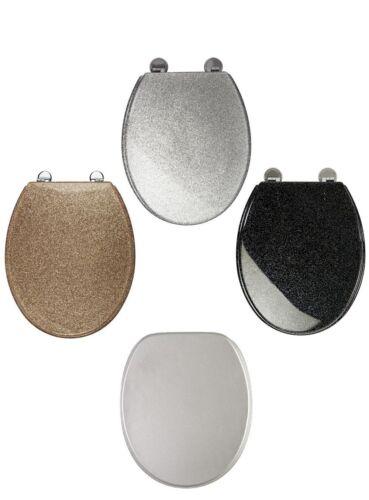 Blk//White//Gold//Silver Glitter Toilet Seat Sparkle Resin Bathroom Soft Slow Close