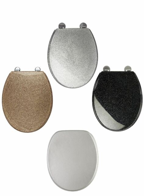 Awe Inspiring Blk White Gold Silver Glitter Toilet Seat Sparkle Resin Bathroom Soft Slow Close Gmtry Best Dining Table And Chair Ideas Images Gmtryco