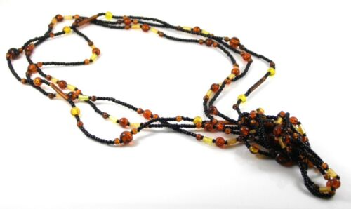 SET OF THREE NECKLACES BLACK GLASS SEED BEAD ORANGE BEAD AND YELLOW TUBE BEADS
