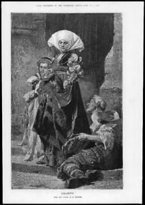 1881-Fine-Art-Antique-Print-CHARITY-Benczur-Lady-Coin-Beggar-Crutch-158