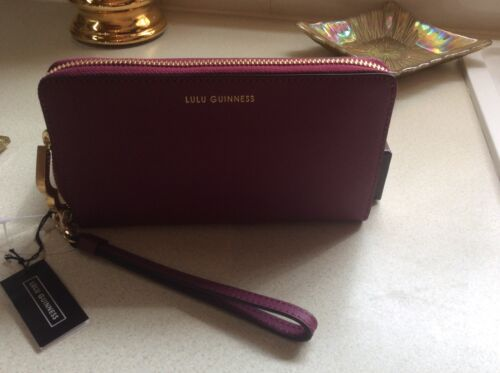 Lulu Guinness Leather Wallet In Magenta BNew