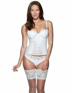 Ladies white basque with suspenders in various sizes