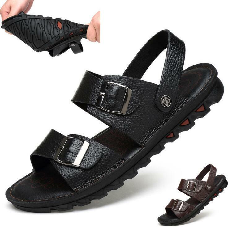 Mens Open Toe Leather Ankle Strap Non-slip Oxfords shoes SLingback Sandals shoes