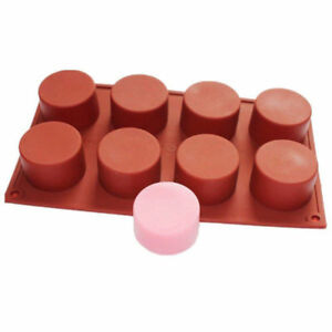 8-Cavity-Round-Cylinder-Column-Silicone-Handmade-Soap-Mold-Muffin-Random-Color