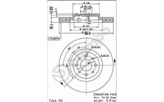 BREMBO Juego de 2 discos freno 281mm ventilado FIAT STILO ALFA ROMEO 09.5180.30
