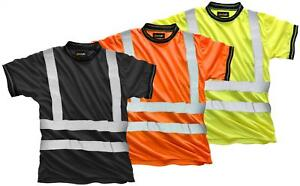 Hombre-Standsafe-Alta-Visibilidad-Camiseta-Cuello-Redondo-Reflectante-TOP