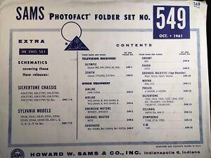 Details about SAMS PHOTOFACT FOLDER SET NO  549, 1961, SCHEMATICS & SERVICE  MANUALS