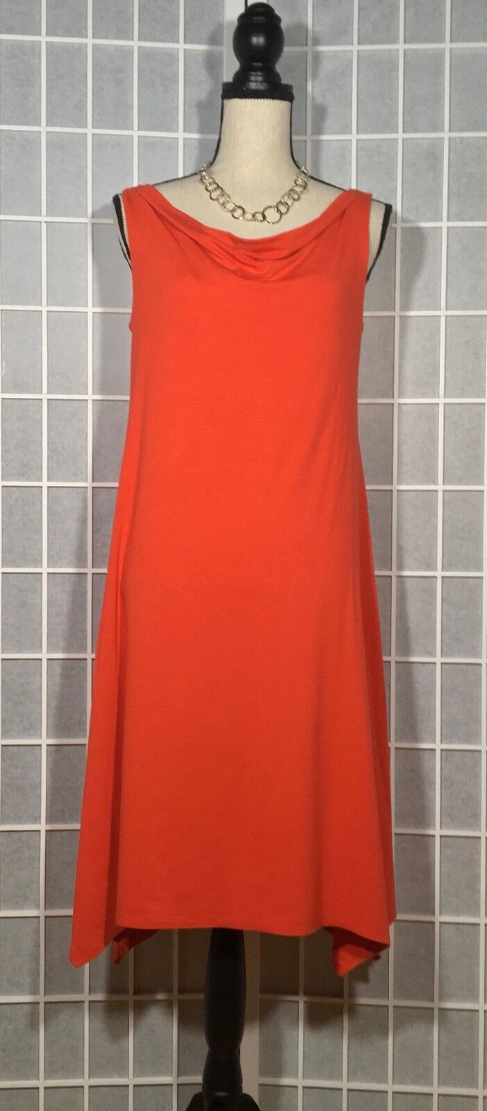 EILEEN FISHER WOMEN'S SLEEVELESS HIGH-LOW HEM DRESS SMALL S SOLID RED