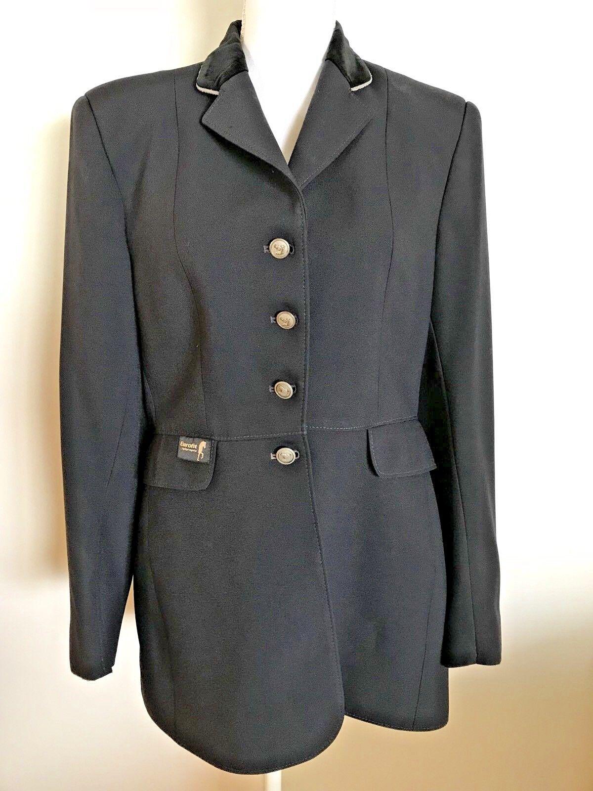 Equifit Doma Chaqueta de abrigo de terciopelo negro 30L Negro mostrar cuello chaqueta de montar a caballo