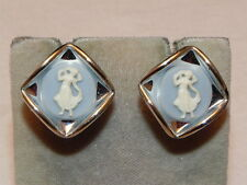 Vintage Wedgewood Style Blue Cameo Maiden Silver Tone Screwback Earrings