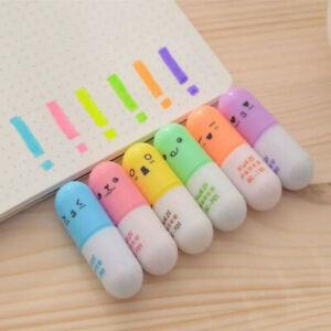 6PCS-Mini-Pill-Highlighter-Pens-Smiley-Graffiti-Marker-Stationery-School-Office