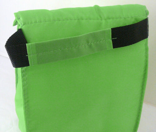 Tab Closure LIME GREEN Front Pocket Reusable LUNCH BAG Insulated