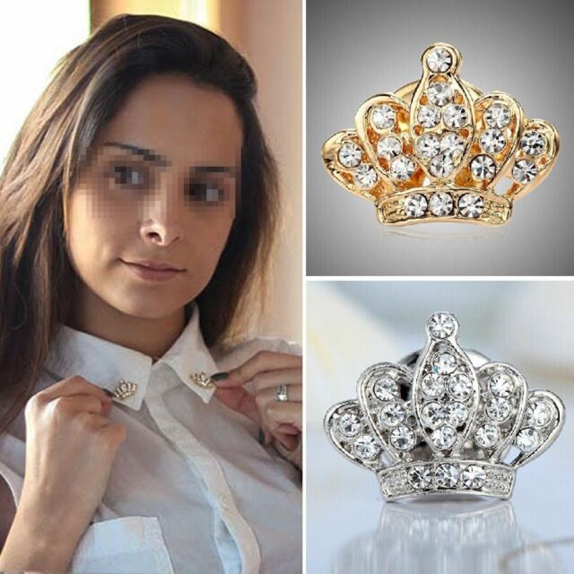 Elegant Women Girl Crown Silver Plated  Full Shinging Crystal Brooch Christmas