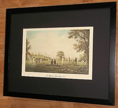 Cricket framed print - 20''x16'', Hambledon Cricket Match, cricket wall art