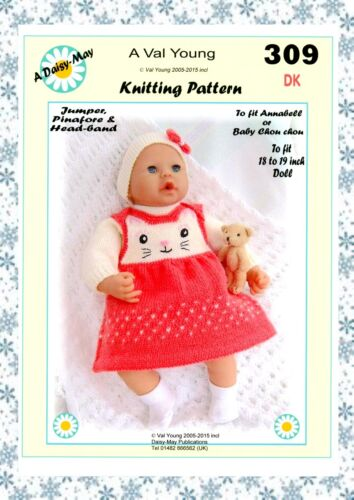 "DOLLS KNITTING PATTERN no 309 for 18/""-19/"" Annabell type doll by Daisy-May."