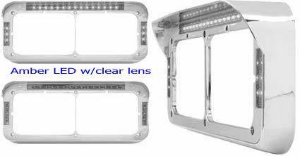 Headlight Bezel Visor Rect Dual Light LED Peterbilt Freightliner Kenworth SET