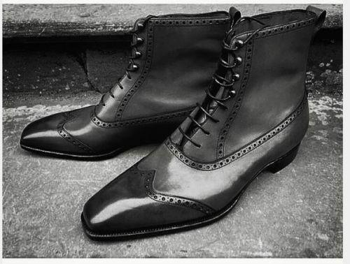 botas para hombre hecho a mano de cuero negro de moda tobillo punta del ala acordonados formal wear Zapato