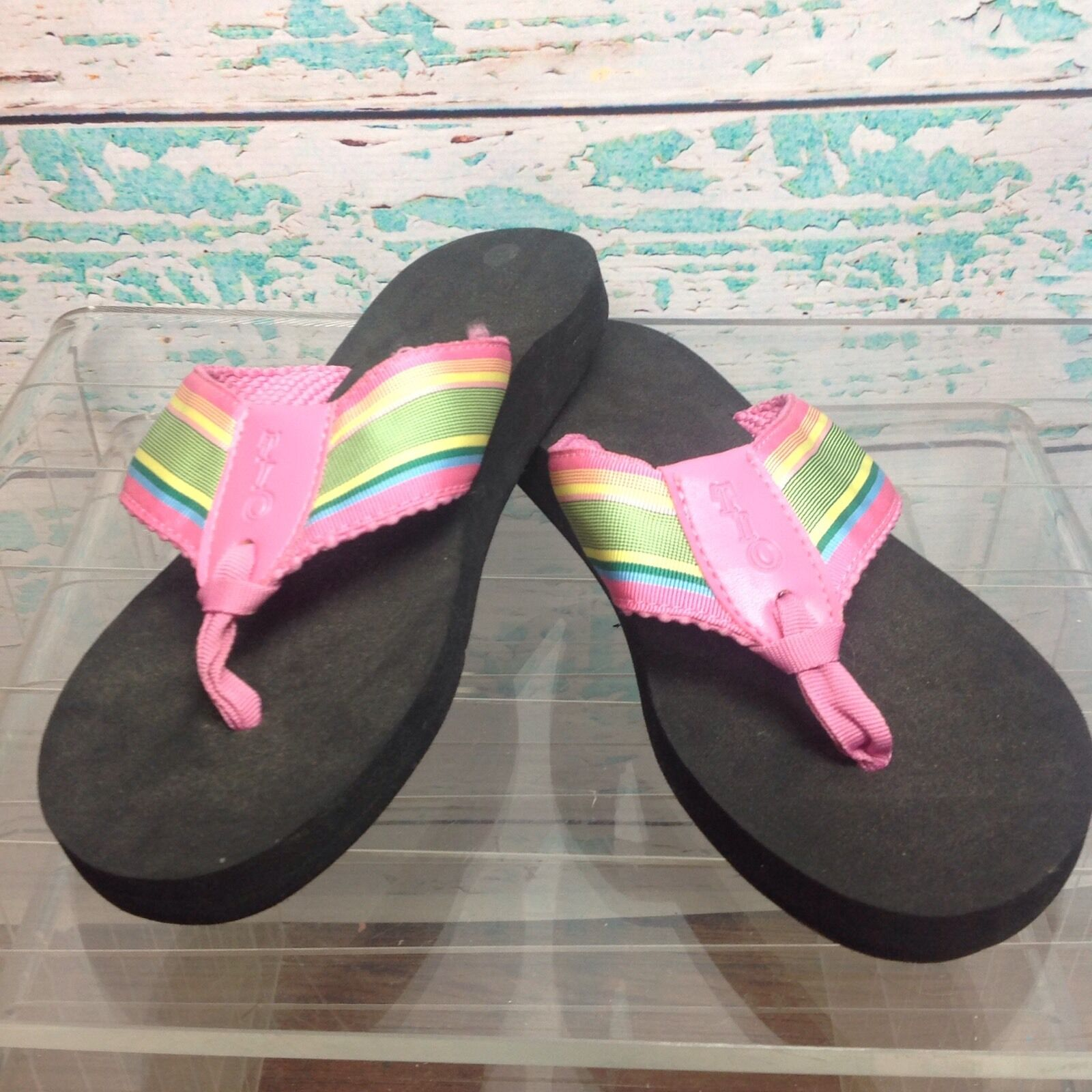 Tio Pink Green Stripe Ribbon Slip Flip Flops Sz 7 Slip Ribbon On Rubber Sandals Womens Shoes ee7dd6
