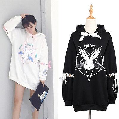 Kawaii Rabbit Pentagram Printed Hoodies Casual Lace Up Autumn Women Hoodie