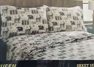 Remington-Outdoors-Bear-Stag-Tree-Gray-Tan-Sheet-Set-NWT-Queen-or-King-Lodge