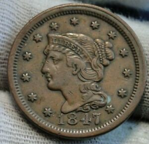 1847-Large-Cent-Braided-Hair-Penny-Nice-Coin-Free-Shipping-9726