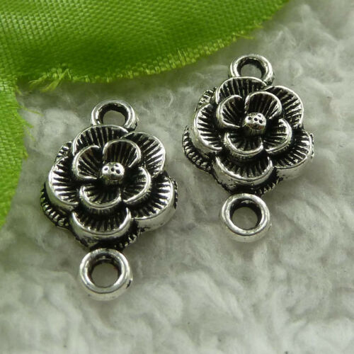 free ship 360 pieces tibet silver flower connector 20x12mm #3925